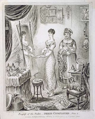 Progress of the Toilet, or Dress Completed, published by Hannah Humphrey in 1810 Poster Art Print by James Gillray