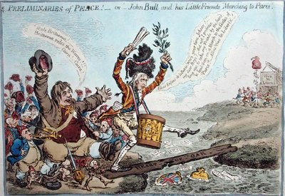 Fine Art Print of Preliminaries of Peace, or John Bull and his Little Friends Marching to Paris, published by Hannah Humphrey in 1801 by James Gillray