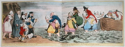 Le Debarquement du Chevalier John Bull et de sa famille a Boulogne sur Mer, or The Landing of Sir John Bull & his Family at Bologne sur Mer, engraved by James Gillray Poster Art Print by Henry William Bunbury
