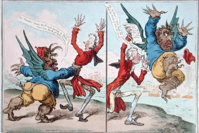 The Tables Turn'd, published by Hannah Humphrey in 1797 Poster Art Print by James Gillray