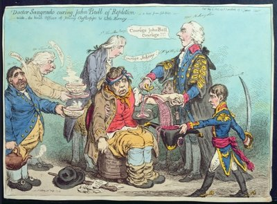 Dr Sangrado curing John Bull of Repletion, published by Hannah Humphrey in 1803 Poster Art Print by James Gillray