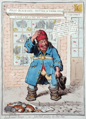 Fine Art Print of Le Bonnet Rouge, or John Bull evading the Hat Tax, published by Hannah Humphrey in 1797 by James Gillray