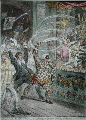 Blowing up the Pic Nic's, or Harlequin Quixotte attacking the Puppets, published by Hannah Humphrey in 1802 Poster Art Print by James Gillray