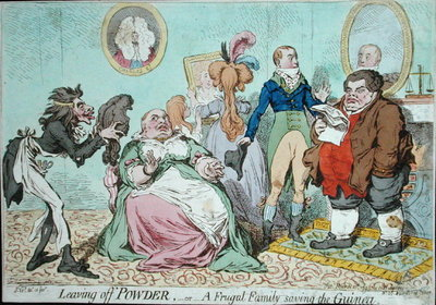 Leaving off Powder, or A Frugal Family saving the Guinea, published by Hannah Humphrey in 1795 Poster Art Print by James Gillray