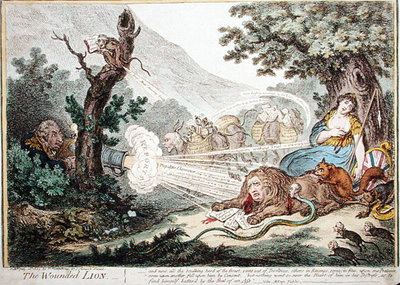Fine Art Print of The Wounded Lion, published by Hannah Humphrey in 1805 by James Gillray