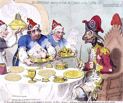 "Fine Art Print of ""Dumourier dining in State at St. James's on the 15th May 1793"", pub. by Hannah Humphrey, 1793 by James Gillray"