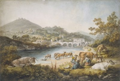 Fine Art Print of Llangollen and Dinas Bran, 1796 by Julius Caesar Ibbetson
