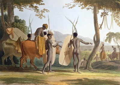 Fine Art Print of Kaffers on a March, plate 5 from 'African Scenery and Animals', engraved by the artist, 1804 by Samuel Daniell
