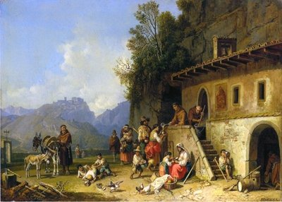 Monks feeding the poor, Italy, 1864-65 Poster Art Print by Heinrich Burkel