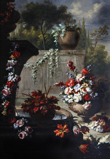 Fine Art Print of Still life of flowers in ornamental vases by Gasparo Lopez