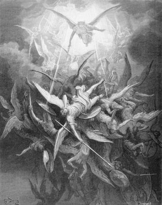 The Fall of the Rebel Angels, from Book I of 'Paradise Lost' by John Milton Poster Art Print by Gustave Dore