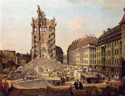 The Ruins of the old Kreuzkirche, Dresden Poster Art Print by Bernardo Bellotto