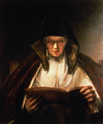 Old Woman Reading Poster Art Print by Rembrandt Harmensz. van Rijn