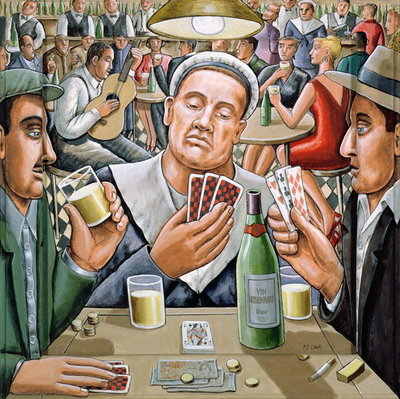 Fine Art Print of The Poker Players, 2003 by P.J. Crook
