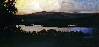 Fine Art Print of Northern Lights in the Archipelago, 1902 by Otto Hesselbom