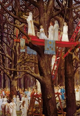Druids Cutting the Mistletoe on the Sixth Day of the Moon Poster Art Print by Henri-Paul Motte