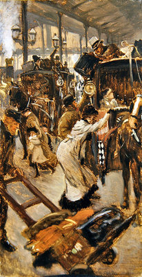 Departure platform, Victoria station, c.1881-82 Poster Art Print by James Jacques Joseph Tissot