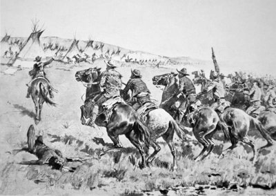 Texas Rangers attacking a Comanche village, 1896 Poster Art Print by Frederic Remington