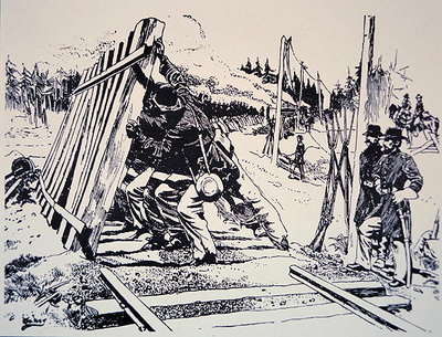 Fine Art Print of 'Railway destruction as a military art' during General Sherman's march through Georgia, May-September, 1864 by American School