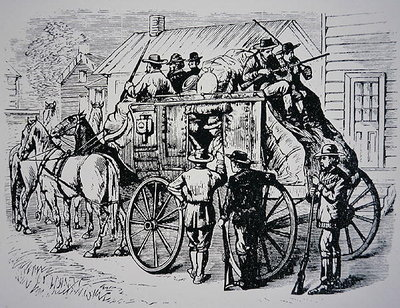 Fine Art Print of The Daily Stagecoach run from Winnemucca, Nevada, to Boise City, Idaho, 1877 by American School