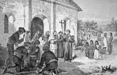Fine Art Print of Spanish Missionaries in California in the 18th century by American School
