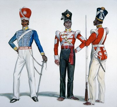 Indian Sepoy Uniforms at the time of the Indian Mutiny in 1857-58 Poster Art Print by English School