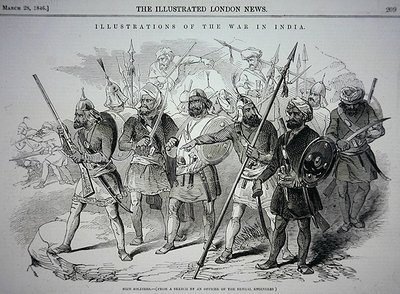 Fine Art Print of Sikh soldiers, from a sketch by an Officer of the Bengal Engineers, pub. in 'The Illustrated London News', 28th March, 1846 by Indian School