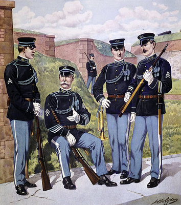 Fine Art Print of U.S. infantry full dress 1902-07 armed with U.S. magazine rifle model 1903 by Henry Alexander Ogden