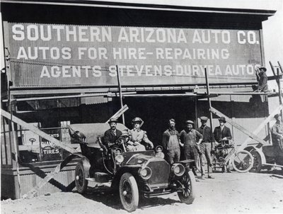 Early motor car and garage, Southern Arizona, c.1910 Poster Art Print by American Photographer