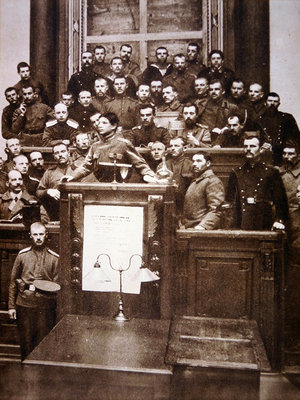 An early assembly of Bolsheviks in one of many 'Soviets', 1917 Poster Art Print by Russian Photographer