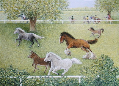 On the Gallop (oil on canvas) by Pat Scott - print