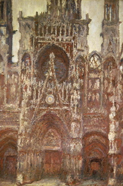 Fine Art Print of Rouen Cathedral, evening, harmony in brown, 1894 by Claude Monet