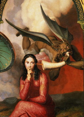 Fine Art Print of Good and Evil: the Devil Tempting a Young Woman, 1832 by Andre Jacques Victor Orsel