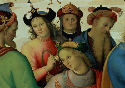Fine Art Print of The Marriage of the Virgin, detail of the suitors, 1500-04 by Pietro Perugino