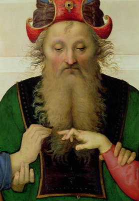 Fine Art Print of The Marriage of the Virgin, detail of the high priest, 1500-04 by Pietro Perugino