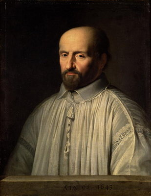 Fine Art Print of Portrait of the Abbot of Saint Cyran, c.1643 by Philippe de Champaigne