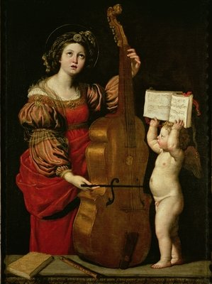 Fine Art Print of St. Cecilia with an angel holding a musical score, c.1620 by Domenichino