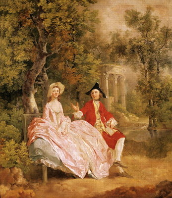 Conversation in a Park, portrait of the artist and his wife, Margaret Burr Poster Art Print by Thomas Gainsborough
