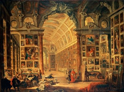 Fine Art Print of Interior View of The Colonna Gallery, Rome by Giovanni Paolo Pannini or Panini