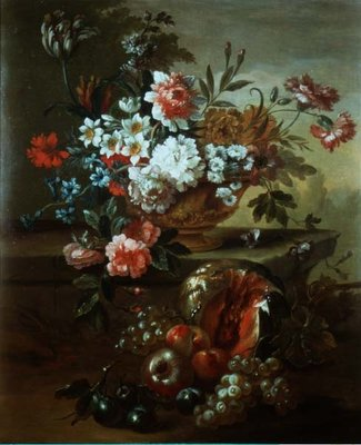 Still life of flowers in an urn with fruit Poster Art Print by Pieter Casteels