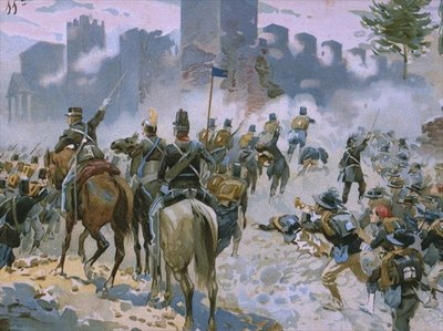 Fine Art Print of Battle of Solferino and San Martino, 24th June 1859, illustration from an album on the history of Risorgimento made for the chocolate Talmone, late 19th century by Italian School