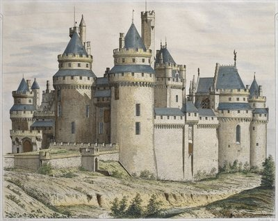 Fine Art Print of Chateau de Pierrefonds, illustration from 'Le Moniteur des architectes', engraved by Bosredon by French School