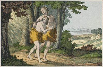 Fine Art Print of Adam and Eve expelled from paradise, illustration from 'L'Ancien Testament', published by Jakob Ferdinand Schreiber, Esslingen by German School