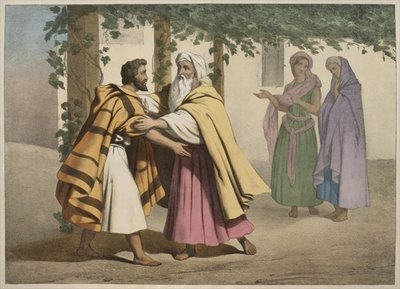 Fine Art Print of Jacob with Laban and his daughters, illustration from a catechism 'L'Histoire Sainte', published by Charles Delagrave, Paris, late 19th century by French School