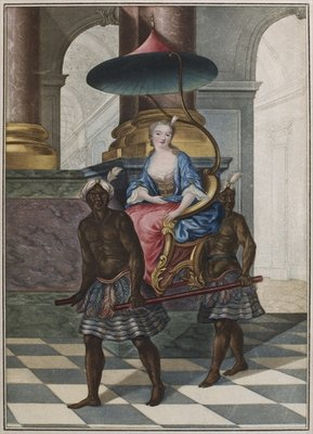 Fine Art Print of Marchioness being carried in a sedan chair by two black servants by French School