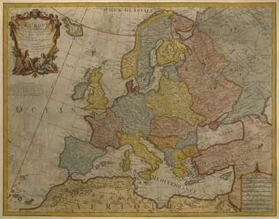Fine Art Print of Map of Europe, published in 1700, Paris by Guillaume Delisle