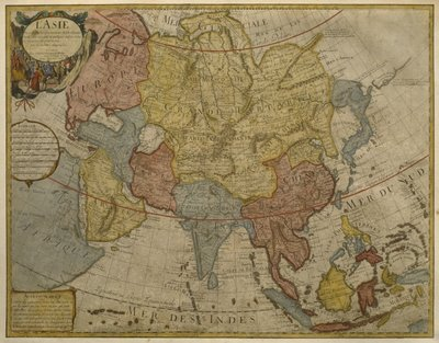 Fine Art Print of Map of Asia, published in 1700, Paris by Guillaume Delisle