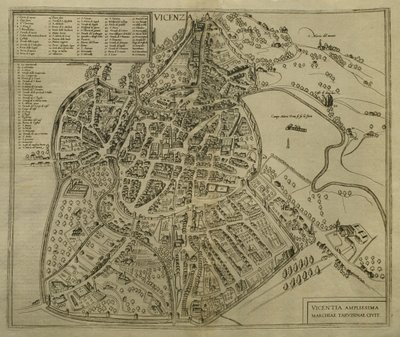 Fine Art Print of Map of Vicenza, illustration from 'Civitates Orbis Terrarum', c.1580 by Georg Braun