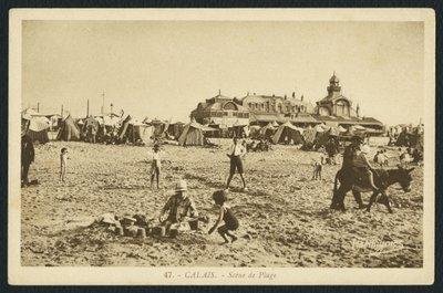 Postcard depicting the beach and the Casino in Calais, France, c.1920 Poster Art Print by French Photographer
