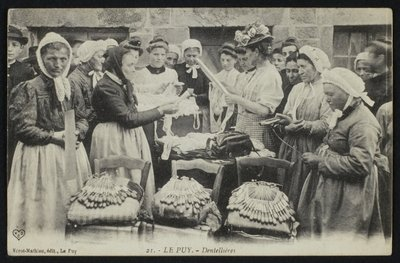 Fine Art Print of Postcard depicting lacemakers of Le Puy, c.1900 by French Photographer